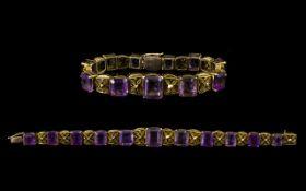 Victorian Period Superb Quality 9ct Gold - Amethyst Set Ornate / Fancy Bracelet,