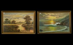 Two Framed Oil And Chalk Pastel On Paper Landscapes Mid century framed artworks, one depicting a