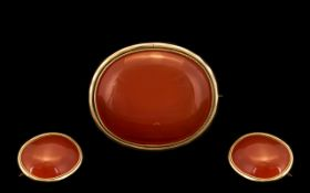 Antique Period - 9ct Gold Large Carnelian Set Brooch of Superb Proportion.
