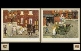 Tom Dodson 1910 - 1911 Artist Signed Pair of Ltd and Numbered Edition Colour Prints - Titles.