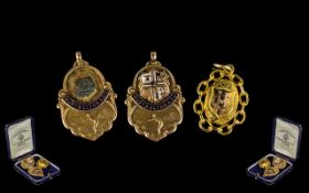 Thomas Fattorini Collection of 9ct Gold Winners Football Medals ( 3 ) In Total. Bury and Elton A.S.
