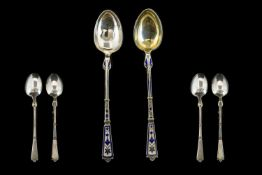 Danish Superb Quality Late 19th Century Pair of Silver and Enamel Spoons. Finely Decorated In