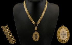Victorian Period Superb Quality Gold Collar and Locket of Wonderful Form. c.1860.