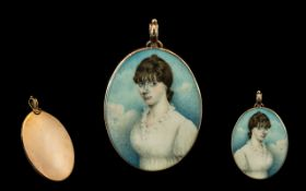 English School Superb Portrait Miniature on Ivory, Within a Gold Mounted Oval Frame,