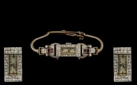 Ladies Superb Quality 9ct White Gold - Attractive Diamond and Ruby Set Mechanical Cocktail Watch -