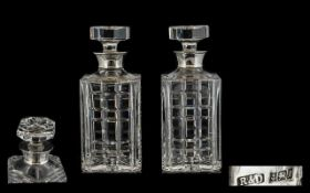 Elizabeth II Top Quality Pair of Heavy Silver Collared Cut Glass Lead Crystal Decanters.