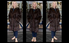 Vintage Dark Brown Mink Coat Full length elegant coat with long sleeves, comprising revere collar,