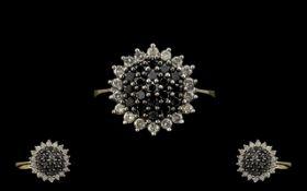 Ladies - Daisy Design Attractive 9ct Gold White and Black Diamond Set Ring,