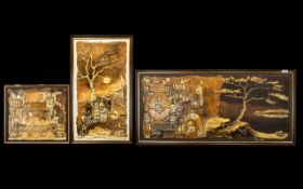 Cyril Barnes (1926-2000) Three Original Mixed Media On Board Each in relief, mixed media in tertiary