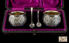 Victorian Period Boxed Set Pair of Silver Salts and Spoons,