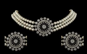 Belle Epoque / Art Nouveau Stunning Quality 3 Strand Pearl and Platinum Diamond Set Choker of