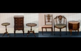 A Small Collection Of Edwardian/Early 20th Century Furniture, To Include Two Inlaid Bedroom Chairs,