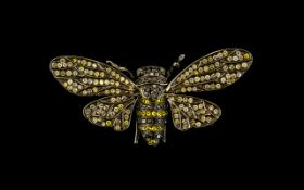 Antique Period Style Large 18ct Anodized Gold Bumble Bee Brooch, Pave Set with Diamonds Including