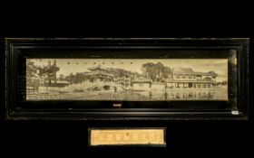 Chinese Rare Late 19thC Superb Impressive Embroidery of 'The Forbidden City' Palace complex.