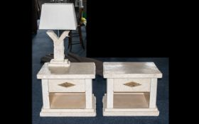 Modern Marble Effect Pair of Bedside Cabinets/Side Tables,