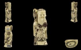 Japanese Early 20th Century Carved Ivory Figure - Late Meiji of A Wise / Sage Man, Holding a