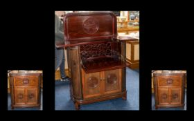 Chinese 20th Century Mahogany Drinks Cabinet with typical Chinese decoration.