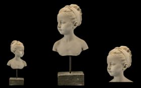 Bust of a Young Girl After ' Jacques Francois Joseph Saly ) French 1717 - 1776, Medium Plaster,