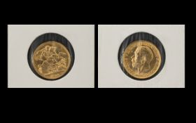 George V 22ct Gold Full Sovereign - Date 1914 & London Mint. E.F. Condition.