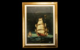 A Modern Framed Watercolour of a 'Ship on Rough Seas'.