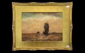 Large Seascape Water Colour depicting a clipper on rough seas.