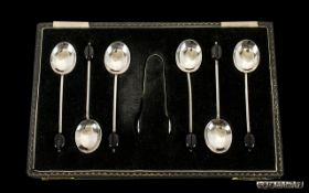 Boxed Set of Six Silver Coffee Spoons with Matching Sugar Tongs. Hallmark Birmingham 1956. All