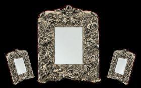 Edwardian Style Impressive Sterling Silver Framed Table Mirror, Marked Sterling Silver.