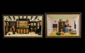 Deborah Pacy ( After ) Hand Painted and Original Frames - Dioramas ( 2 ) 1/ Child's Play Room 2/