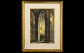 A Mid 19th Century Signed Drawing with Colour Highlight Study of a 'Church Interior ' Pen,