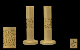Chinese Early 20th Century Pair of Heavy Carved Ivory Candlesticks. The Central Panels Decorated
