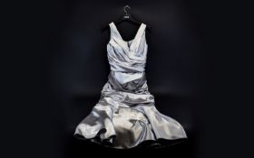 Gina Bacconi Vintage Silver Evening Dress. Size 10-12.