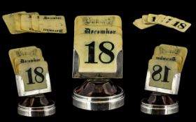 Edwardian Period - Small Silver and Tortoiseshell Desk Calendar with Days and Months Display.