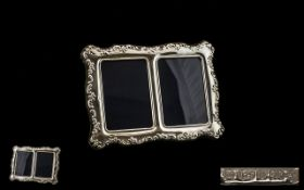 Elizabeth II - Nice Quality Twin Sterling Silver Photo Frame, Flower and Fruit Borders.