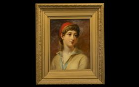 19th Century Unsigned Finely Painted Oil on Board Portrait of a Young Boy Wearing a Red Cloth Cap