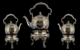 Edwardian Silver Plated Spirit Kettle heavily embossed and highly decorated with an acorn finial