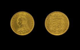 Queen Victoria 22ct Gold Jubilee Head / Shield Back Half Sovereign, London Mint - Date 1887.