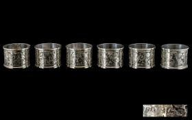 Art Deco Period Fine Quality Matched Set of 6 Silver Napkin Holders.