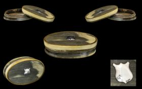 Scottish 19th Century Oval Lidded Horn Snuff Box with Silver Cartouche to Center of Cover,