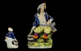 Staffordshire Hand Painted Mid 19th Century Pearl Ware Figure of Will Watch, Seated with Pistol