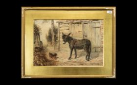 Watercolour of Donkey in Stable Signed TH 1881. Lovely painting of a donkey with a small dog,