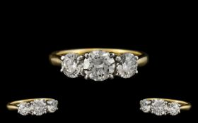 18ct Gold - Stunning 3 Stone Diamond Ring of Top Quality.