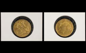 Queen Victoria 22ct Gold Young Head Full Sovereign - Date 1884, Melbourne Mint, G -V.F.Condition.