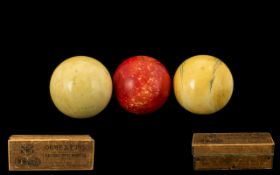 Victorian Period Set of Ivory Billiard Balls ( 3 ) In Original Box, by Orme and Sons of Manchester,