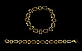 18ct Gold - Two Tone Contemporary Designed Bracelet, Marked 750 - 18ct. With Solid Clasp.