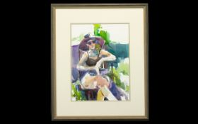 Italian Watercolour 'Girl in a Sun Hat'. Signed Frederica. Image 14'' x 11''. Framed and glazed.