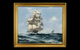 Oil Painting of The Cutty Sark signed on the bottom left by John Beutham-Dinsdale.