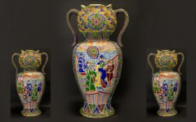 Large Oriental Urn with Twin Handles in mosaic design with five Oriental figures front and back.