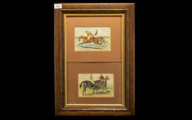 Horse Racing Interest - A Pair of Framed Watercolours Pen and Ink and Highlighted in Colour one
