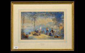 T. L. Rowbotham 1823 - 1875 Titled ' Lake Lugano, Italy ' Watercolour. Signed and Dated In 1865.