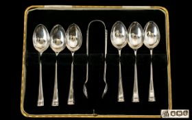 Cased Silver Spoons And Sugar Nips. Deco